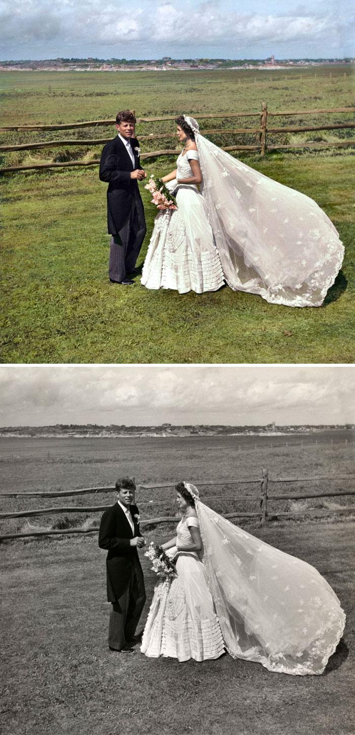 El senador John F. Kennedy y Jacqueline Bouvier Kennedy el día de su boda. 12 de septiembre de 1953