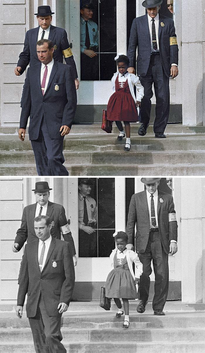 Ruby Bridges, escoltado por los mariscales de EE. UU. para asistir a una escuela completamente blanca, 1960