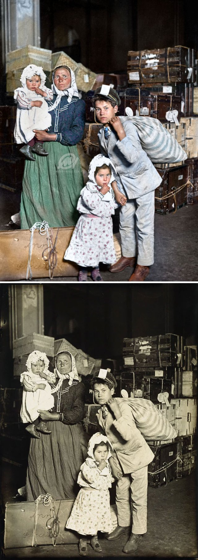 Emigrantes italianos llegando a Isla Ellis, 1905
