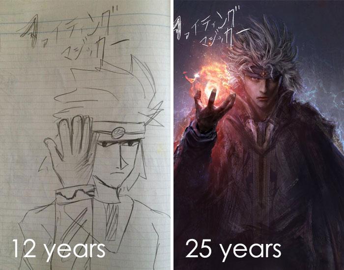 La primera que dibujé cuando tenía doce años. La segunda hoja es un hombre de 25 años que comenzó a dibujar