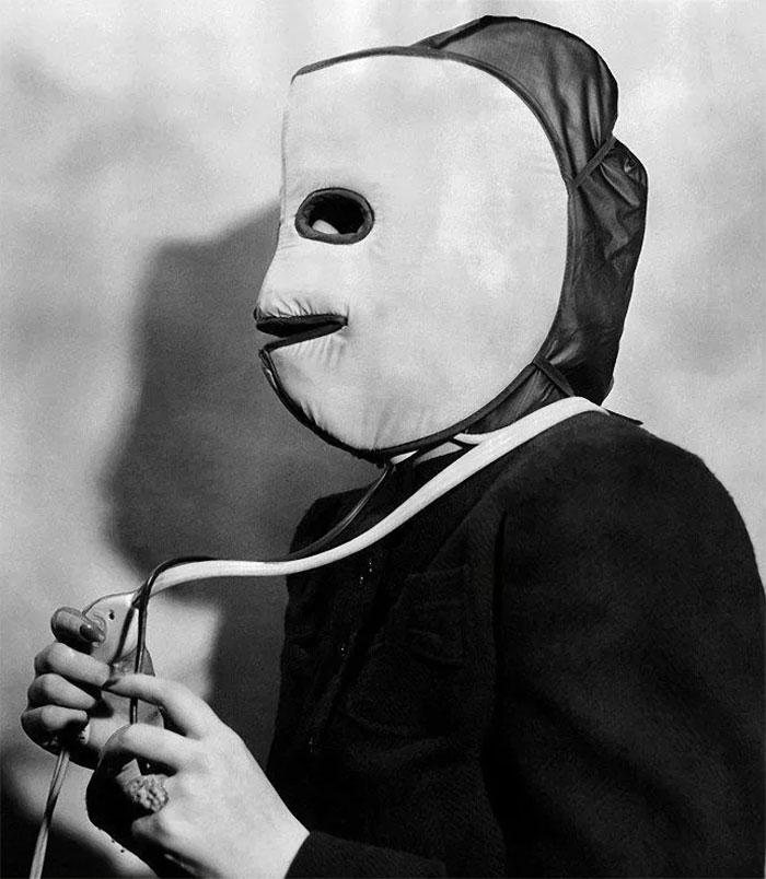 Máscara de aquecimento facial, 1940