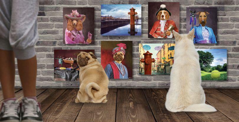 """Shopify Storefront V2 1 SS 5b8d98580373b  880 - Artista cria coleção de Belas Artes para """"cães refinados"""""""
