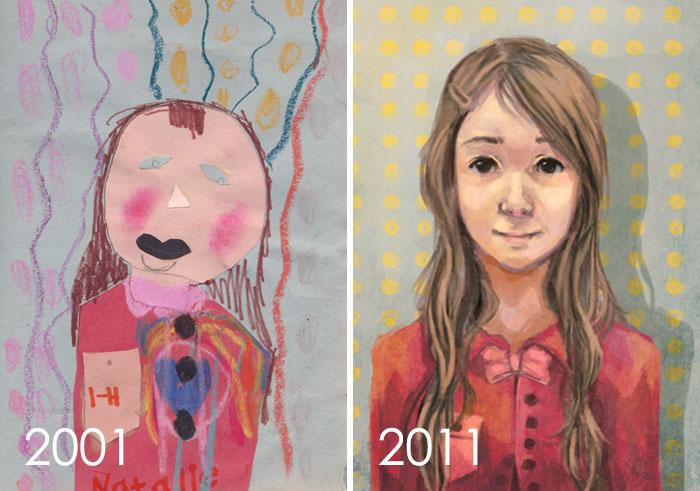 Así que abrí mi cápsula del tiempo de dibujo de hace 10 años. No estoy seguro si esa cosa negra es una boca o un bigote