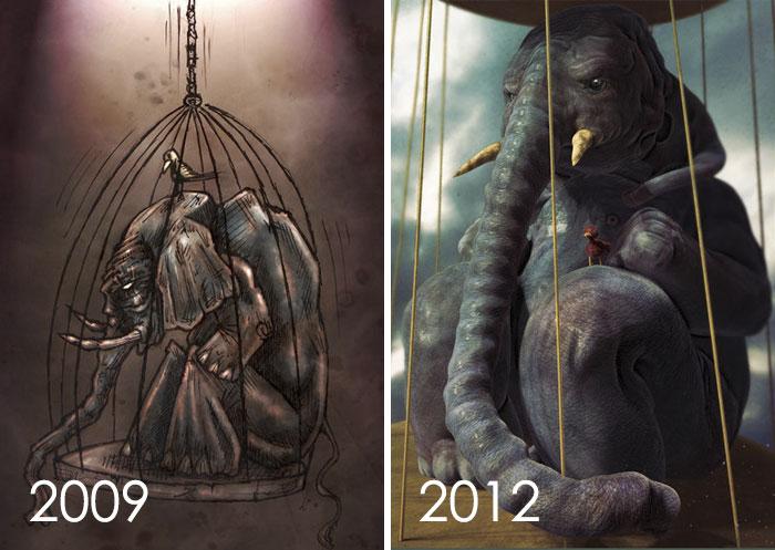 Elefante antes y después