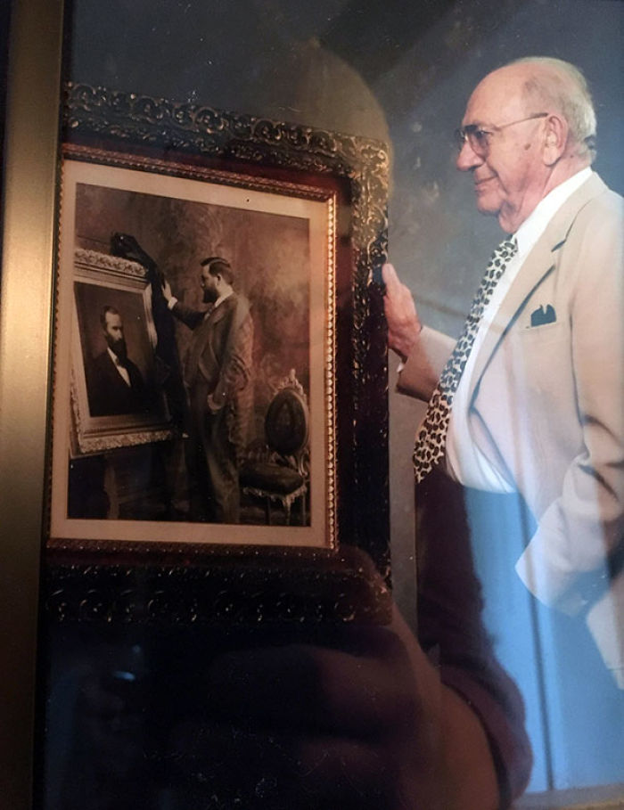 My Girlfriend's Grandpa With A Picture Of His Grandpa With A Picture Of His Grandpa