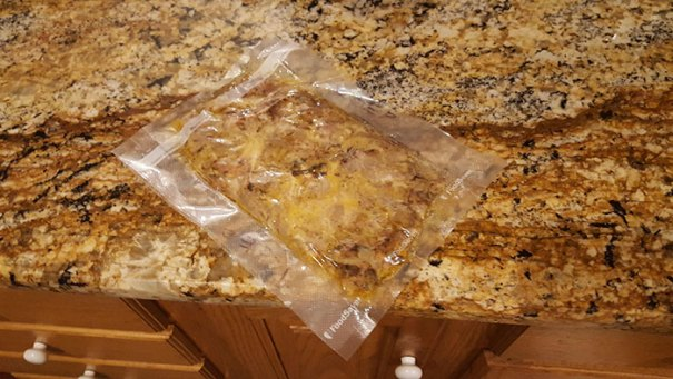 This Vacuum Packed Pulled Pork BBQ On The Kitchen Counter