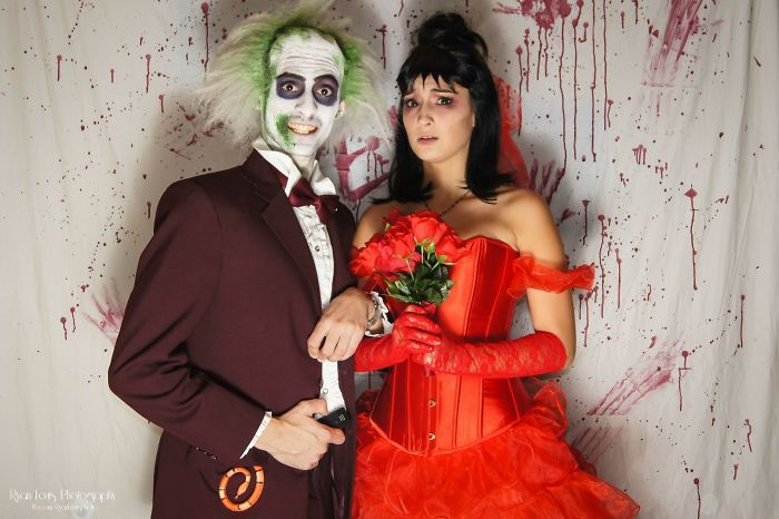 I Now Pronounce You Man And Wi....ahh! Beetlejuice And Lydia Wedding Costumes For Halloween