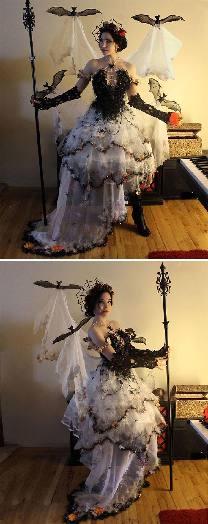 Disfraz de Halloween hecho de decoraciones de Halloween