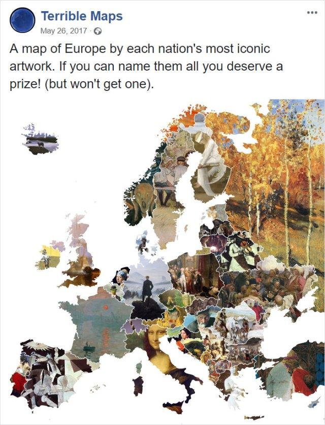 Mapa de Europa con la obra de arte mas famosa de cada país