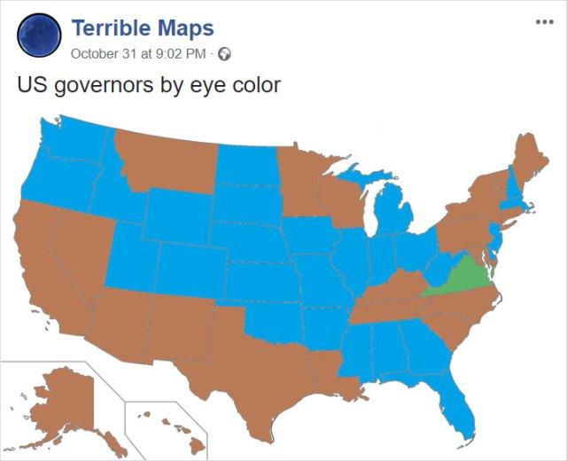 Gobernadores estadounidenses segun su color de ojos
