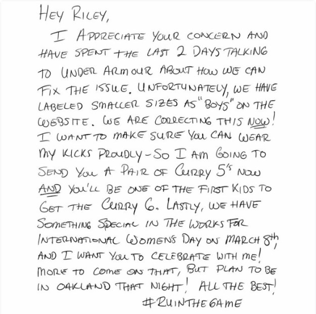 girl-letter-shoe-sizes-riley-morrison-stephen-curry-5c010c37d4036__700 9-Year-Old Girl Writes A Letter To NBA Star Steph Curry Complaining His Shoes Are Only For Boys, He Responds With A Gift Design Random