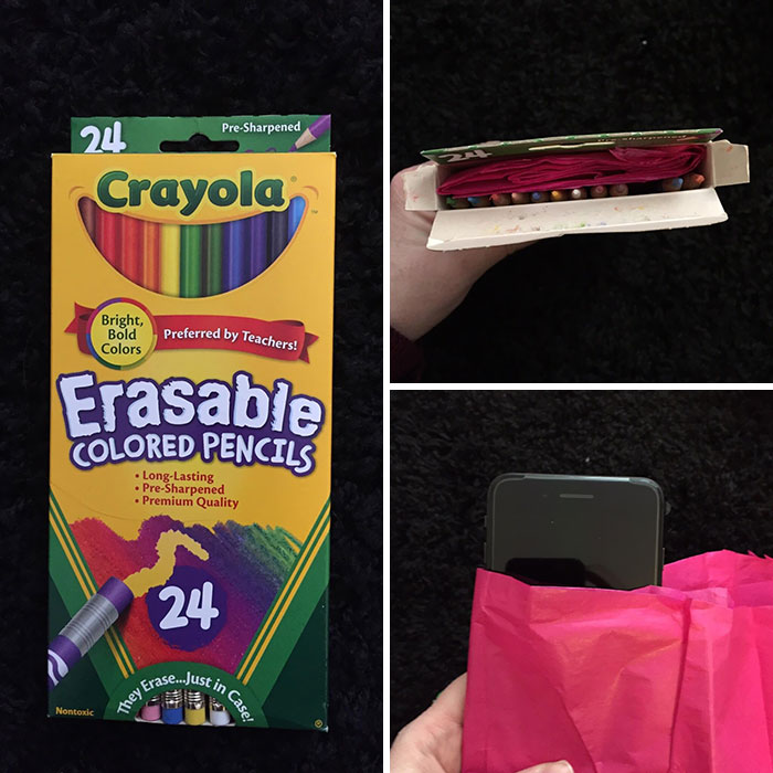My Husband Always Got Colored Pencils For His Birthday And Christmas Growing Up And He Hates Them Cause He's Colorblind. He's Been Wanting An iPhone Forever So Today I Bought Him One And This Is How I Wrapped It:
