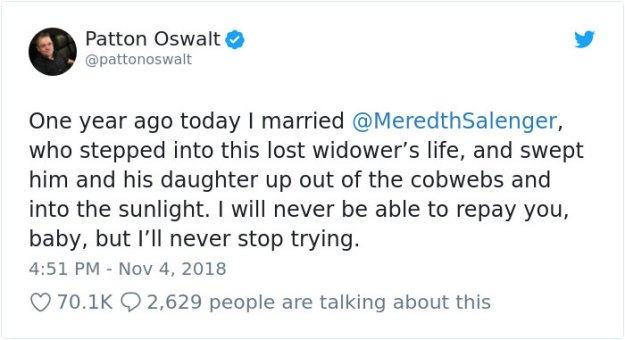internet-troll-ditched-ex-wife-comeback-patton-oswalt-6-5be29d63d5ce0__700 Someone Calls Patton Oswalt 'Creepy' For Remarrying After His Wife's Death, So He Responds Design Random