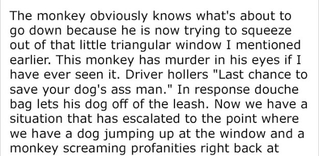 monkey-dog-fight-truck-driver-story-8-5be9342a06988__700 Guy Asks People To Share Unbelievable Things That Happened In Public And His Own Story Tops Everything Design Random