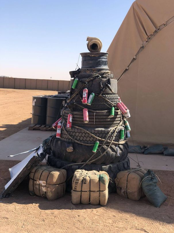 Made Our Own Christmas Tree Where We Are Deployed