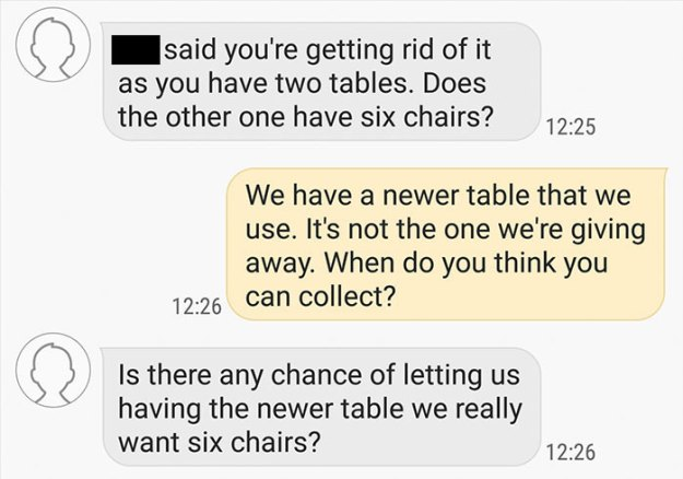 choosing-beggars-table-chairs-conversation-stooby2-5c0682f97e280__700 Guy Who Offered An Old Table For Free Was Asked To Give A New One Instead, And Bring It 180 Miles Design Random