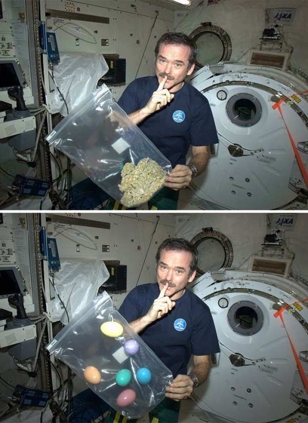 Astronaut Smoking Marijuana In Space