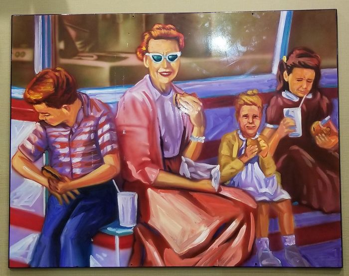 This Painting Was Hanging In A McDonald's. Everyone Looks Like They Hate Their Food And The Little Girl Is 65 Years Old.