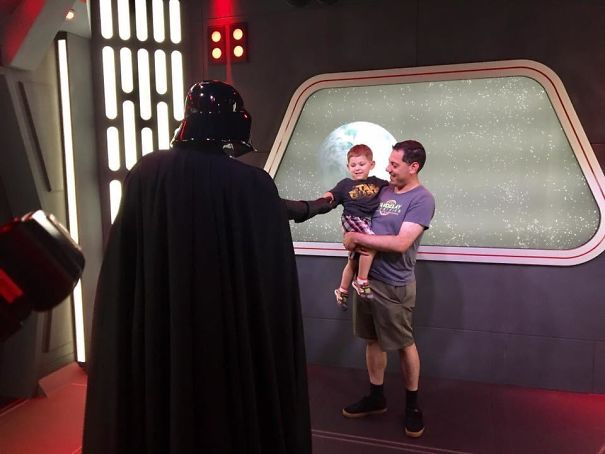 """My Son Got To Meet Darth Vader. And When The Dark Lord Of The Sith Told Him """"Join Me, And I Will Complete Your Training"""" He Reached Out And Held Vader's Hand! Should I Be Impressed, Or Concerned?"""