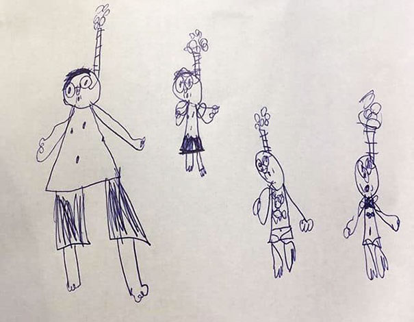 My 6-Year-Old Drew Her Dad, Me, Herself And Her Little Brother. We're Snorkelling