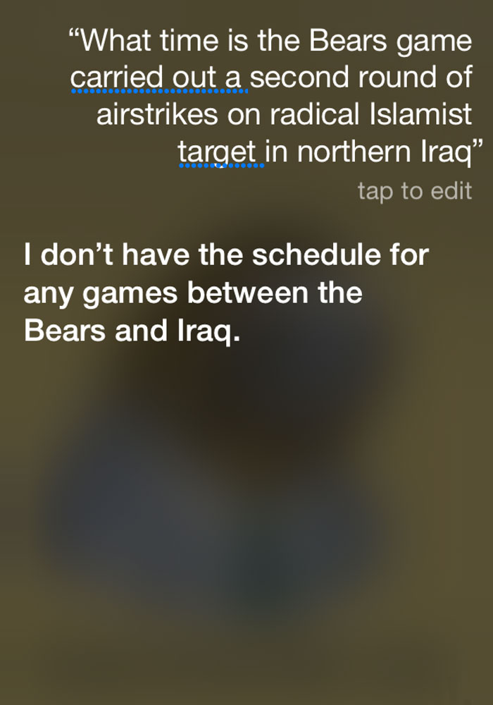 Asked Siri What Time The Bears Game Starts Tonight While Listening To NPR. This Is The Result