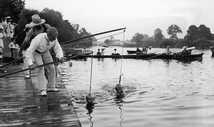 The Pinnacle Of Parenting: 1930s Swimming Lesson