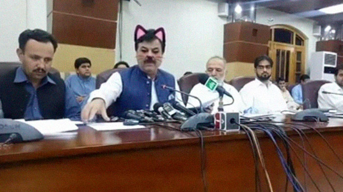 Pakistani Government Officials Accidentally Turn On Cat Filter During Facebook Live, Funny Reactions 2