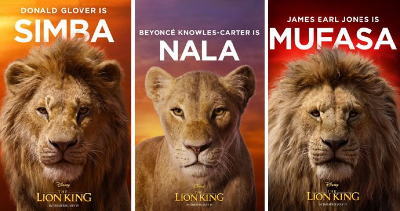 lion king remake cast posters disney 9 - Novo Rei Leão: Atores enfrentam seus personagens cara a cara