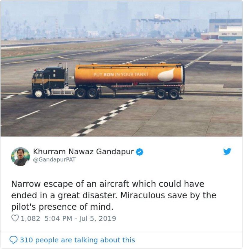 pakistani politician pilot escape tanker video game gta v 0 5d2587652649f  700 - Político paquistanês compartilhou um vídeo do GTA V pensando ser real