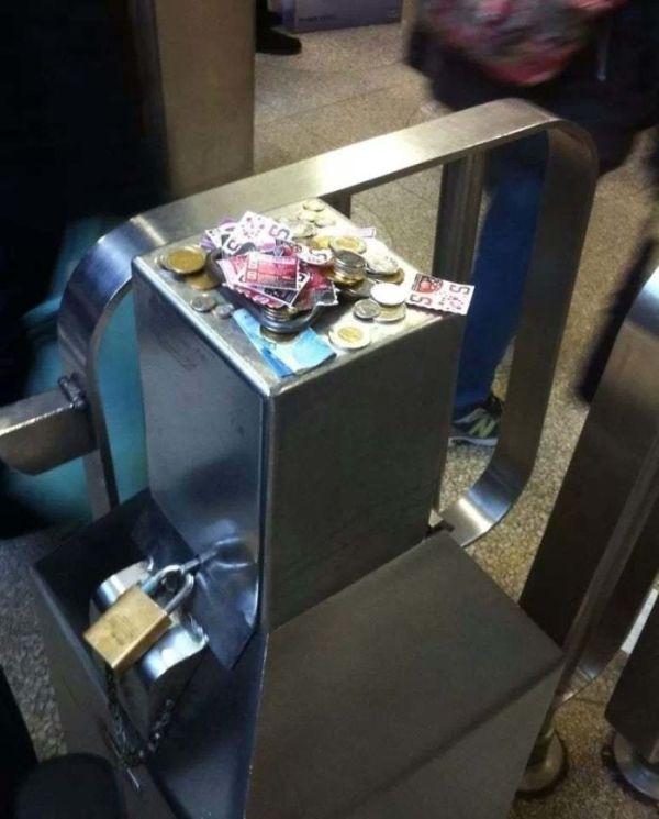 Honest Canadian Commuters. The Workers Were Missing And The Automatic Gates Were Broken. This Is The Result