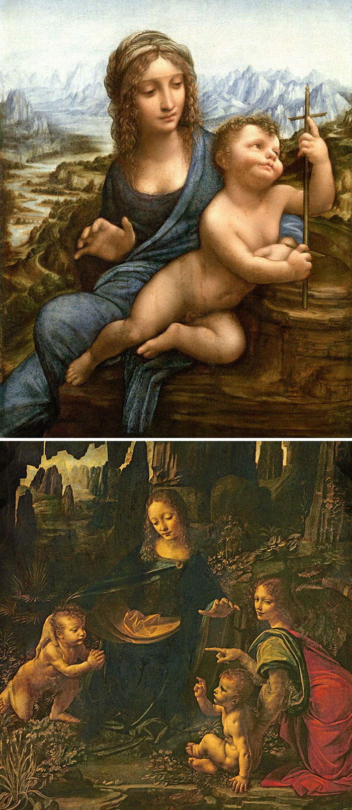 Lord Of The Rings Landscapes With Weird Blue Mist And The Same Wavy-Haired Aristocratic-Nose Madonna, It's Da Vinci