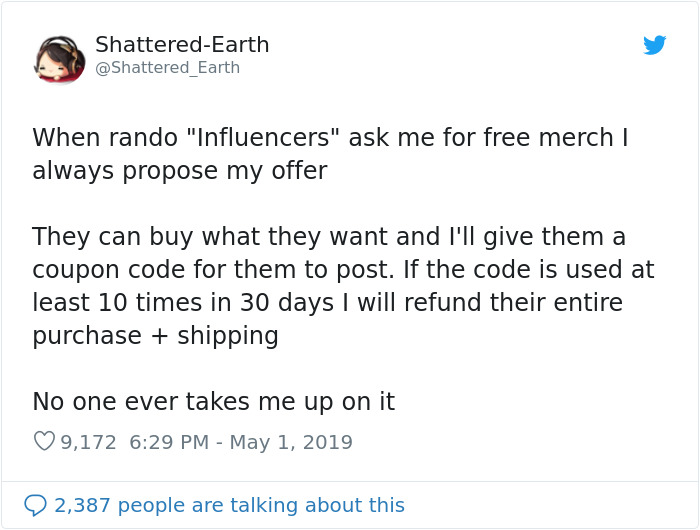 This Artist Greets All Influencers With An Offer
