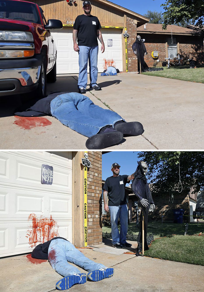 Deadly Halloween Tableau Too Realistic For Some. Neighbours Called 911