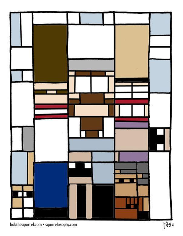 In The Style Of Artist Piet Mondrian