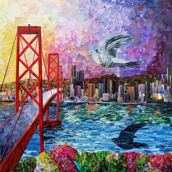 """""""One Flew Over The San Francisco"""", 90x90 cm"""