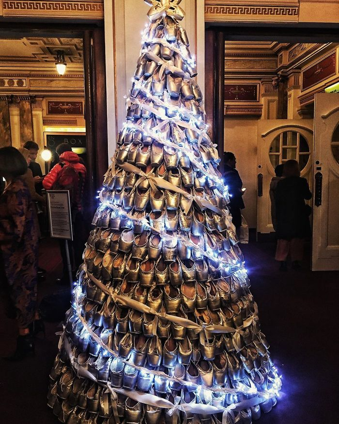 Someone Made A Pointe Shoe Christmas Tree In London Coliseum, English National Opera