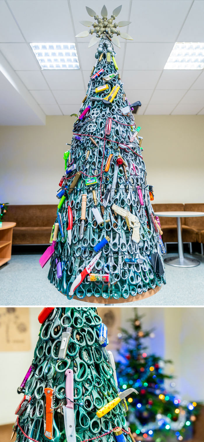 Vilnius Airport Employees Create A Christmas Tree Made Of Confiscated Items