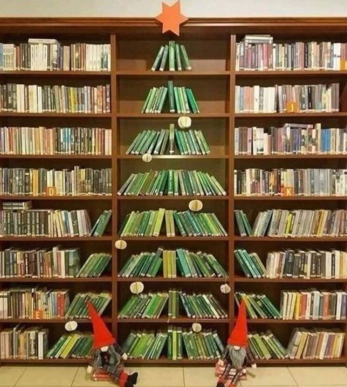 A Very Special Christmas Tree In Public Library Created By The Librarians (Sulęcin, Poland)