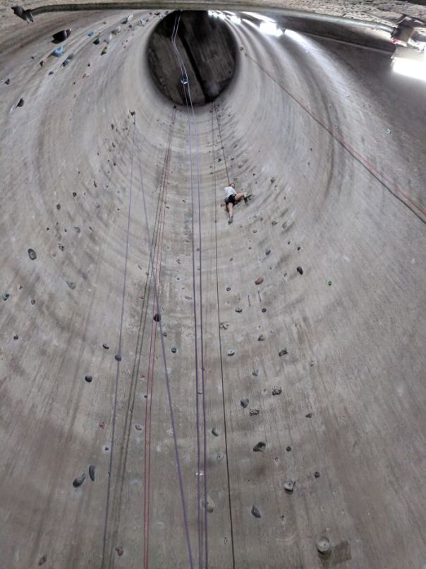 The Tallest Indoor Climbing Wall Is Inside Of A Repurposed Grain Silo