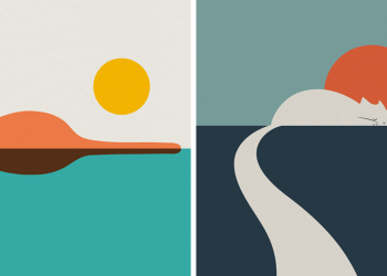 My 23 Minimal Landscape Illustrations For Art And Cat Lovers