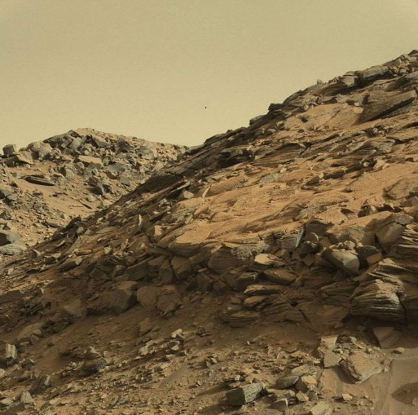 A Mudstone Rock Outcrop At The Base Of Mount Sharp