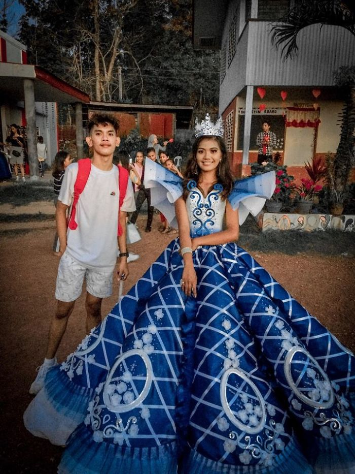Parents Can't Afford To Rent A Gown For Girl's Promenade, Brother Steps Up And Makes Her One Instead