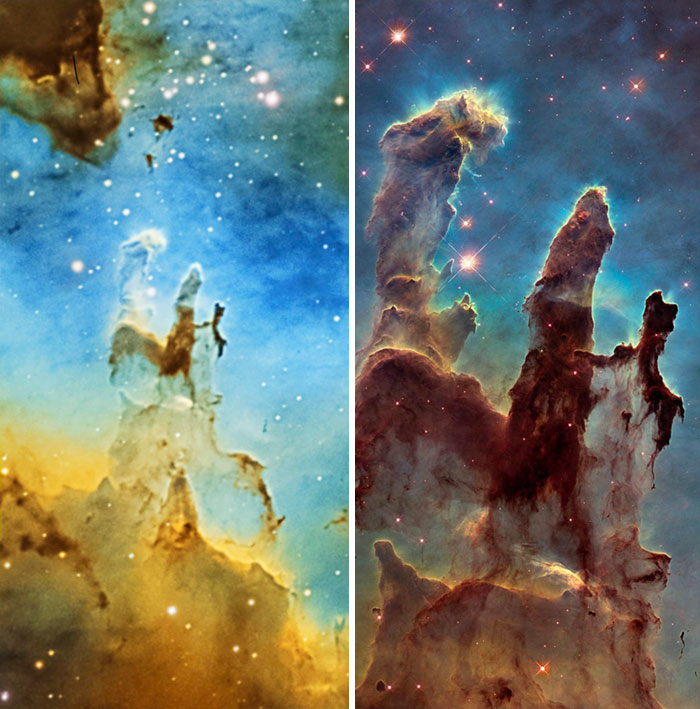 Home Telescope vs. The Hubble Space Telescope. This Is The Pillars Of Creation