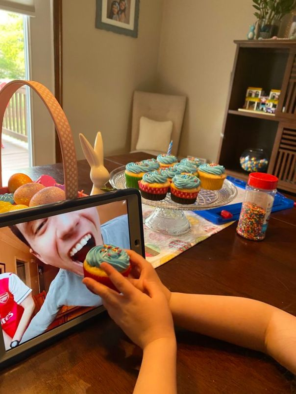My Daughter Feeding My Brother A Cupcake During His Virtual Birthday Party