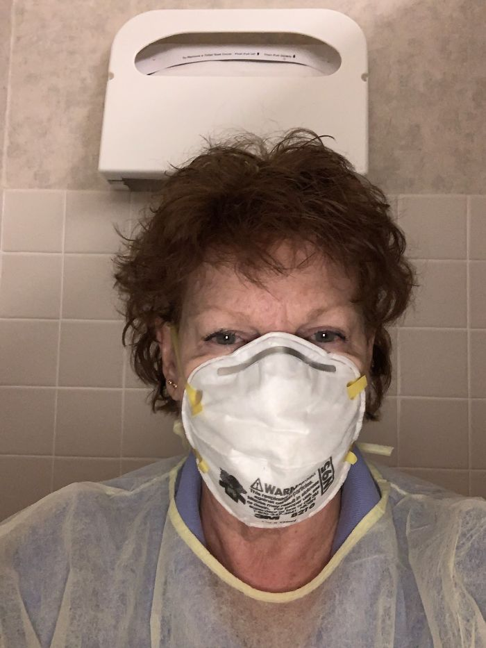 This Is My Mom. She's 71 Years Old And Screening People From The Afternoon To Midnight. Thank The People That Expose Themselves And Go Through Hell Just To Make Sure People Are Safe