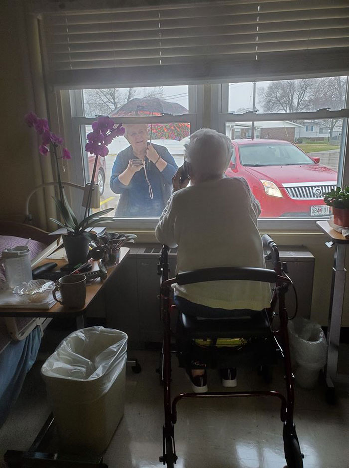 Betty Was So Excited To See Her Daughter Out The Window This Morning, Even In The Rain. They Talked Over The Phone