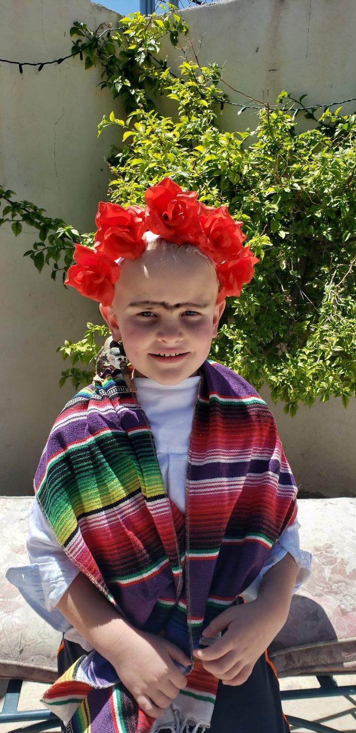 My Wife Dressed My Son Up As Frida For A Project For His Class To Recreate Her Art. Today In His Zoom Meeting We Found Out That Meant A Drawing Or Painting