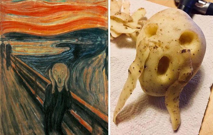 """""""The Scream"""" By Edvard Munch. Right: A Recreation By Jean-Luc Walraff"""