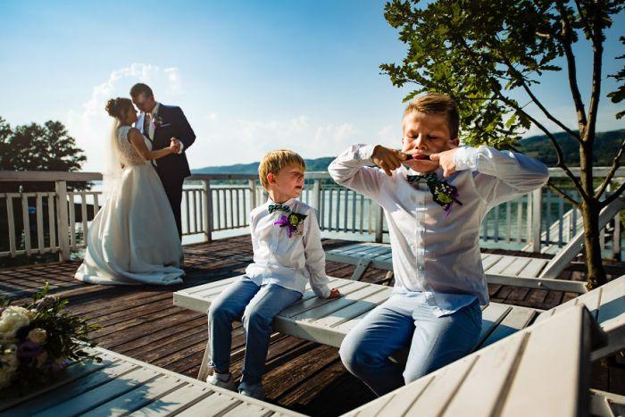 These Boys Entertaining Themselves Through Wedding Portraits