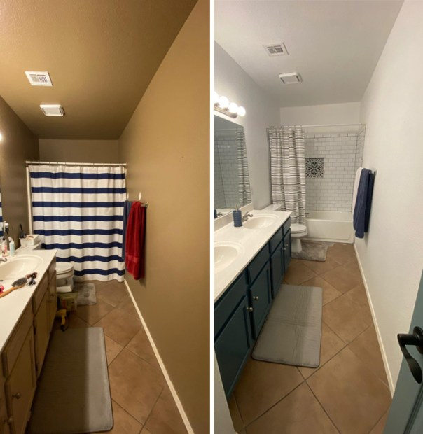 Covid project- bathroom makeover. I did the painting and we hired out for the bathtub work